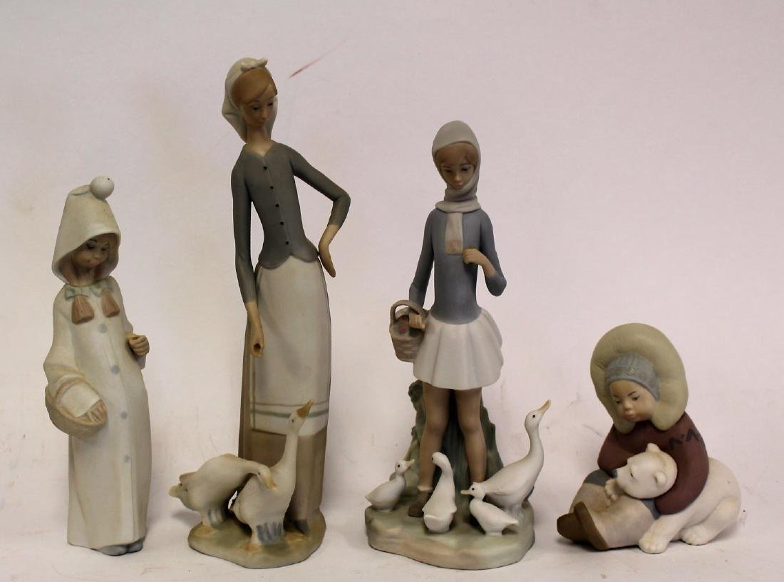 Four(4) Lladro Porcelain Figurines