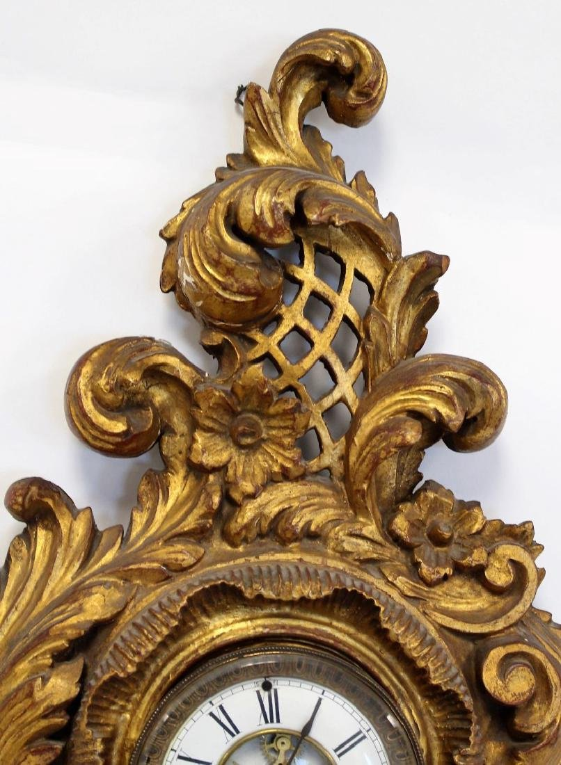 Ornately Carved and Gilt Wood Clock - 3