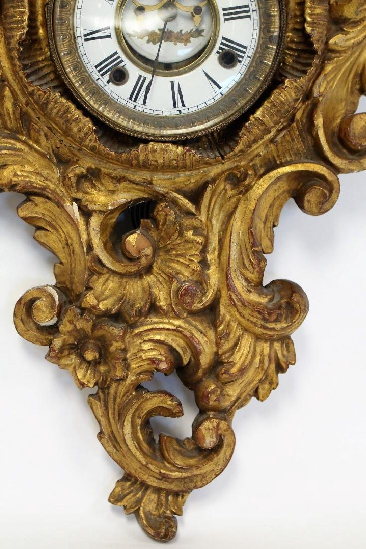 Ornately Carved and Gilt Wood Clock - 4