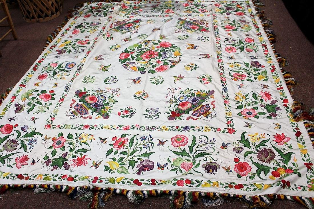 Chinese Embroidered Silk Bedspread