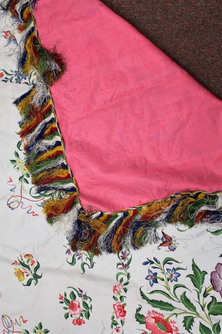 Chinese Embroidered Silk Bedspread - 6