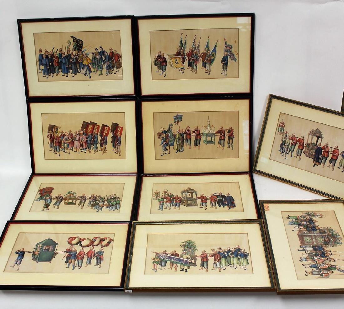 Set of Ten(10) Framed Chinese Watercolors