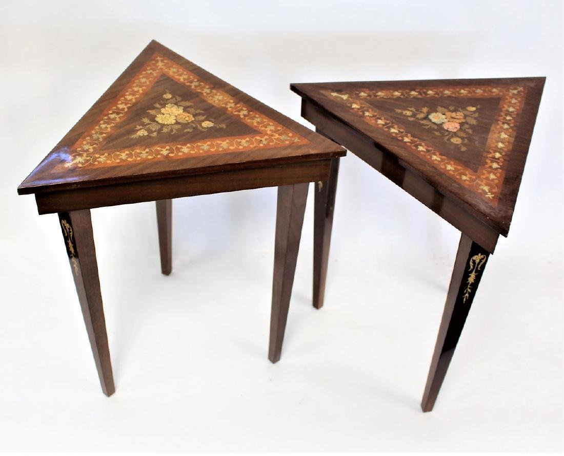 Pair of Inlaid Wood Musical Stands