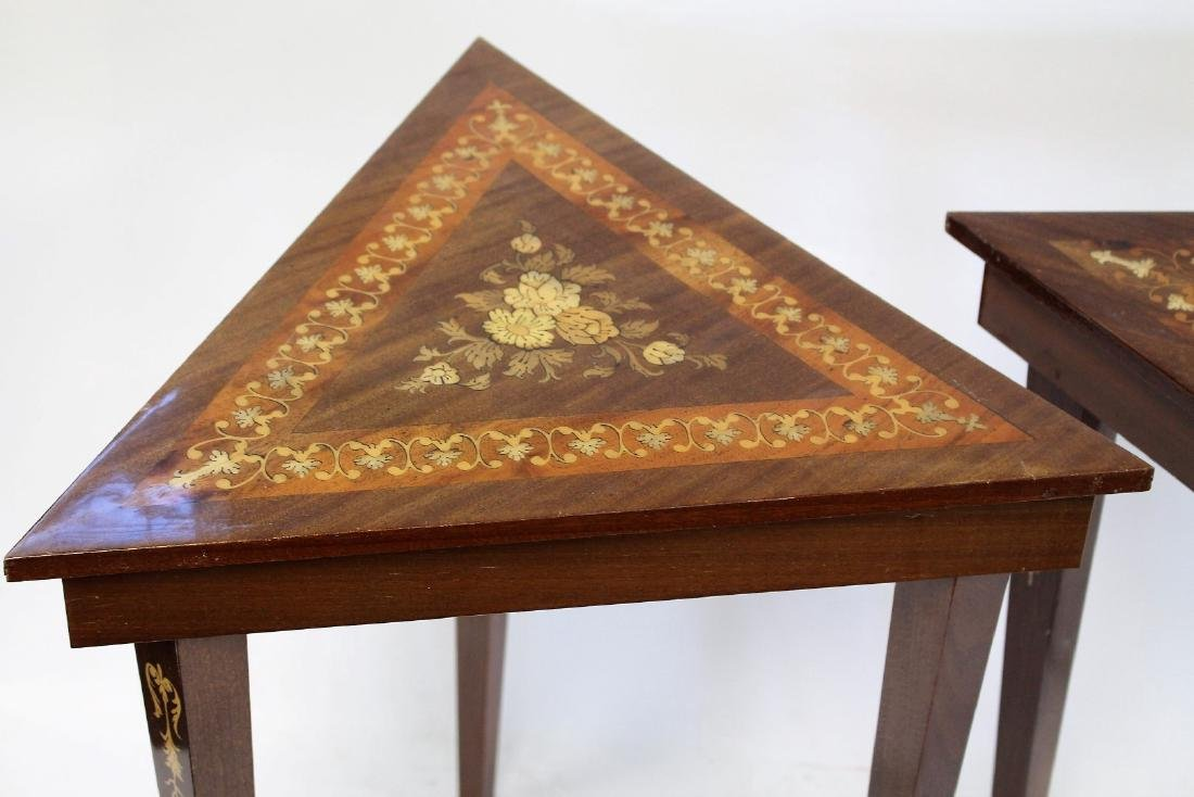 Pair of Inlaid Wood Musical Stands - 2