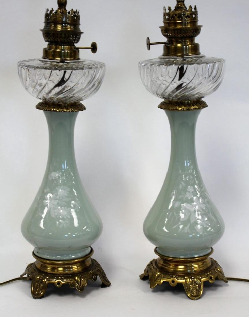 Pair of Victorian Porcelain and Glass Oil Lamps - 2