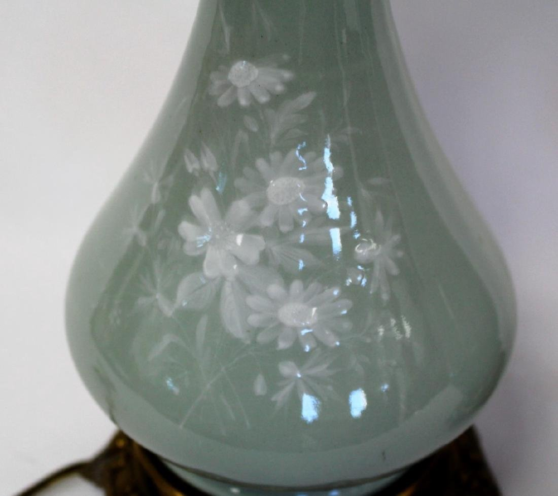Pair of Victorian Porcelain and Glass Oil Lamps - 3