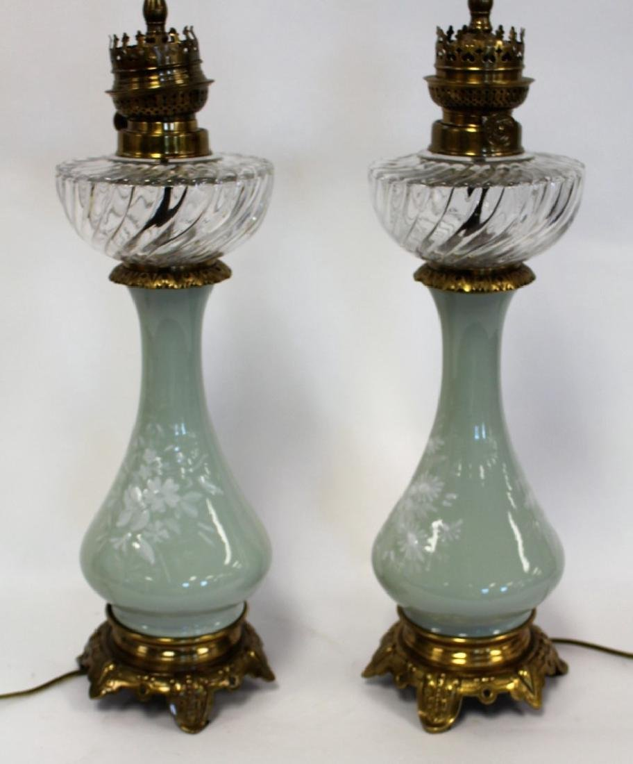 Pair of Victorian Porcelain and Glass Oil Lamps - 4