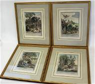 Set of Four4 Hand Colored Engravings