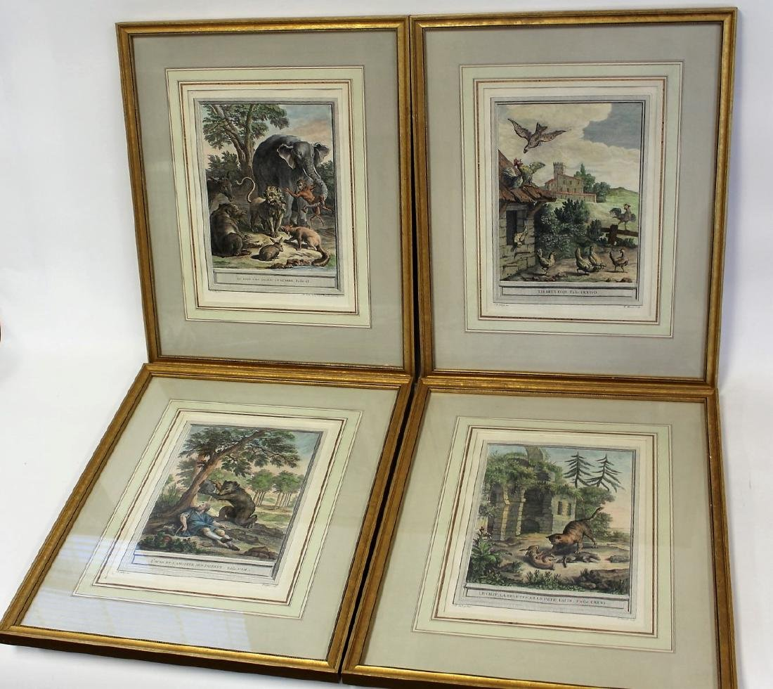 Set of Four(4) Hand Colored Engravings