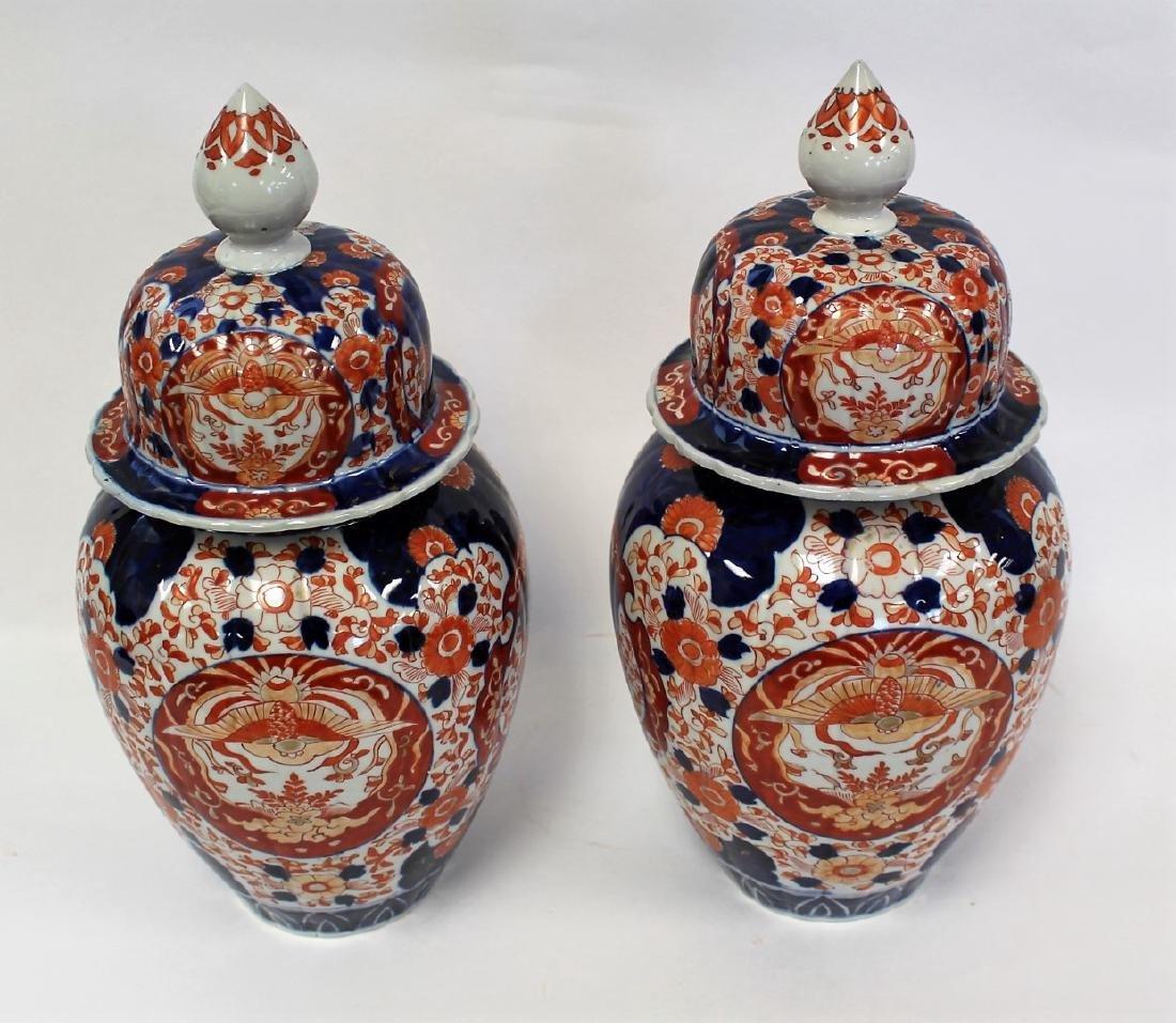 Pair of Imari Porcelain Temple Jars - 3