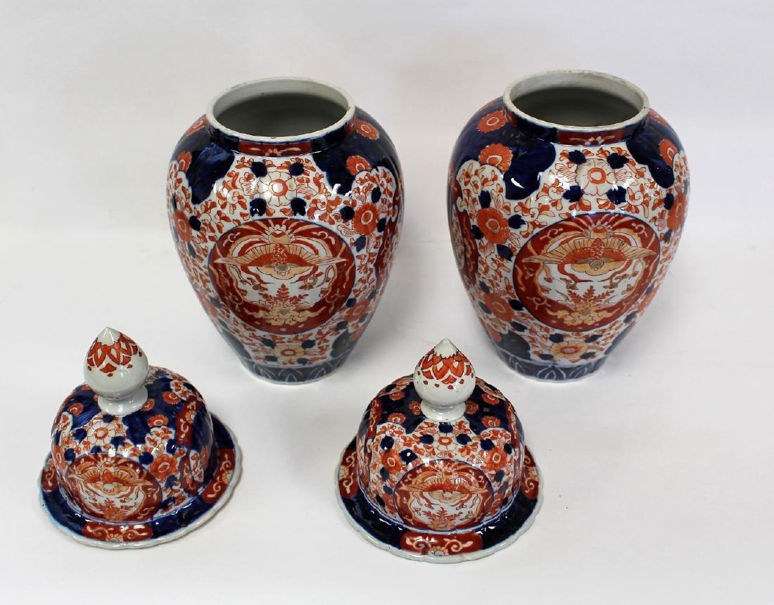 Pair of Imari Porcelain Temple Jars - 4