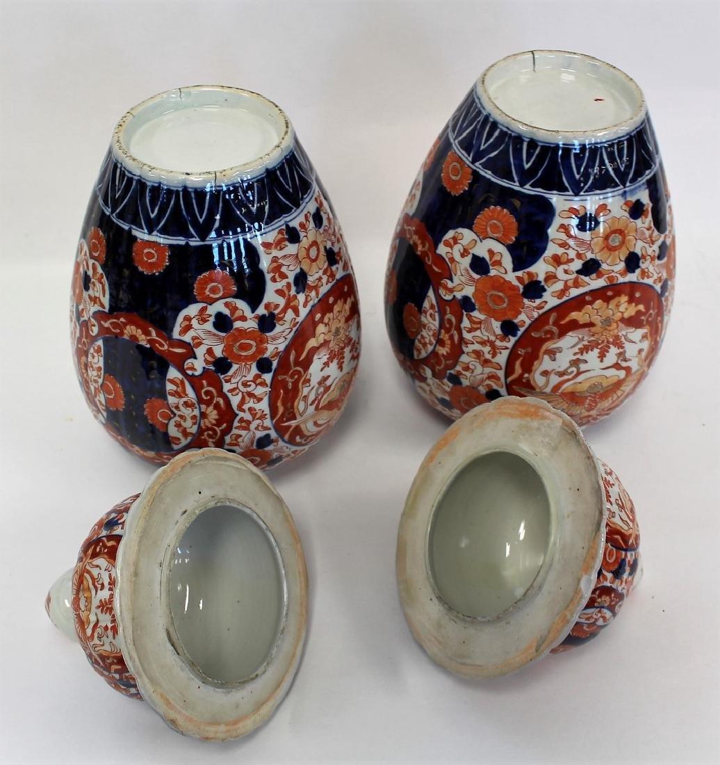 Pair of Imari Porcelain Temple Jars - 5