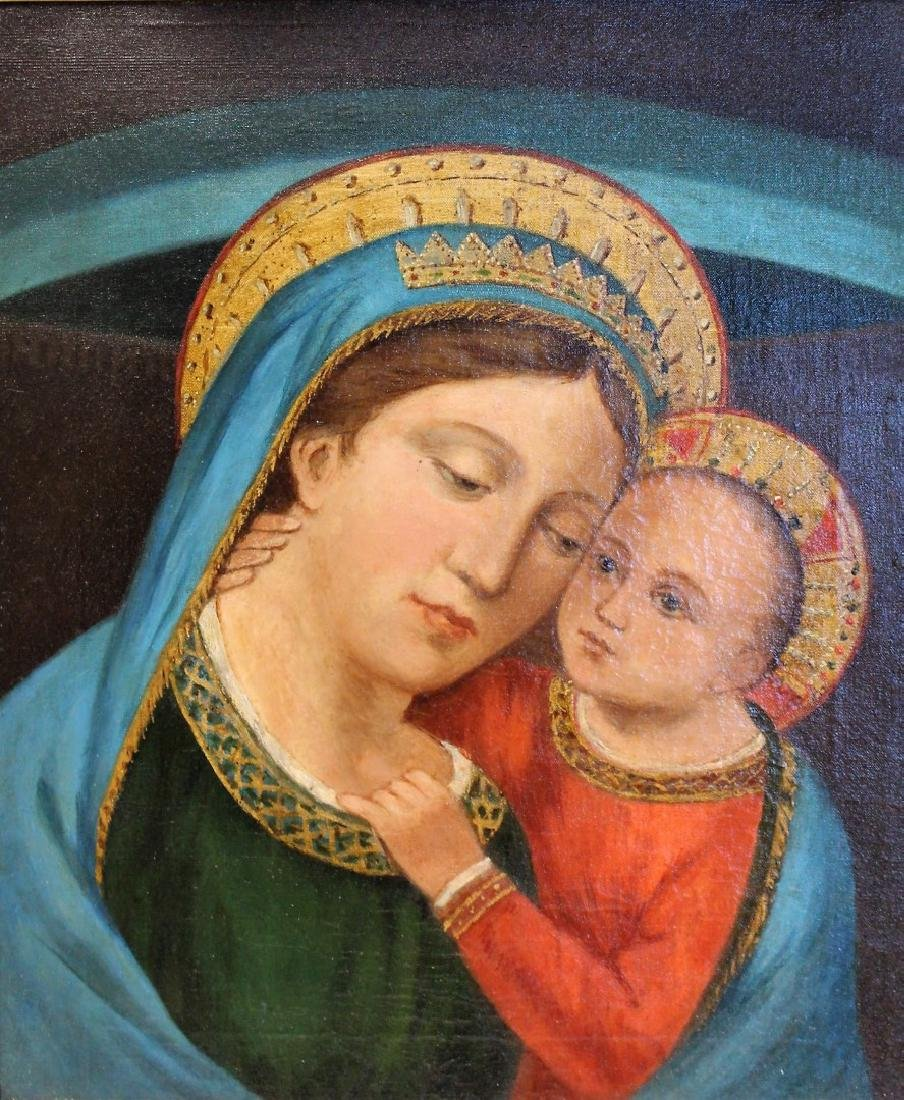 19thC. Oil - Madonna and Child