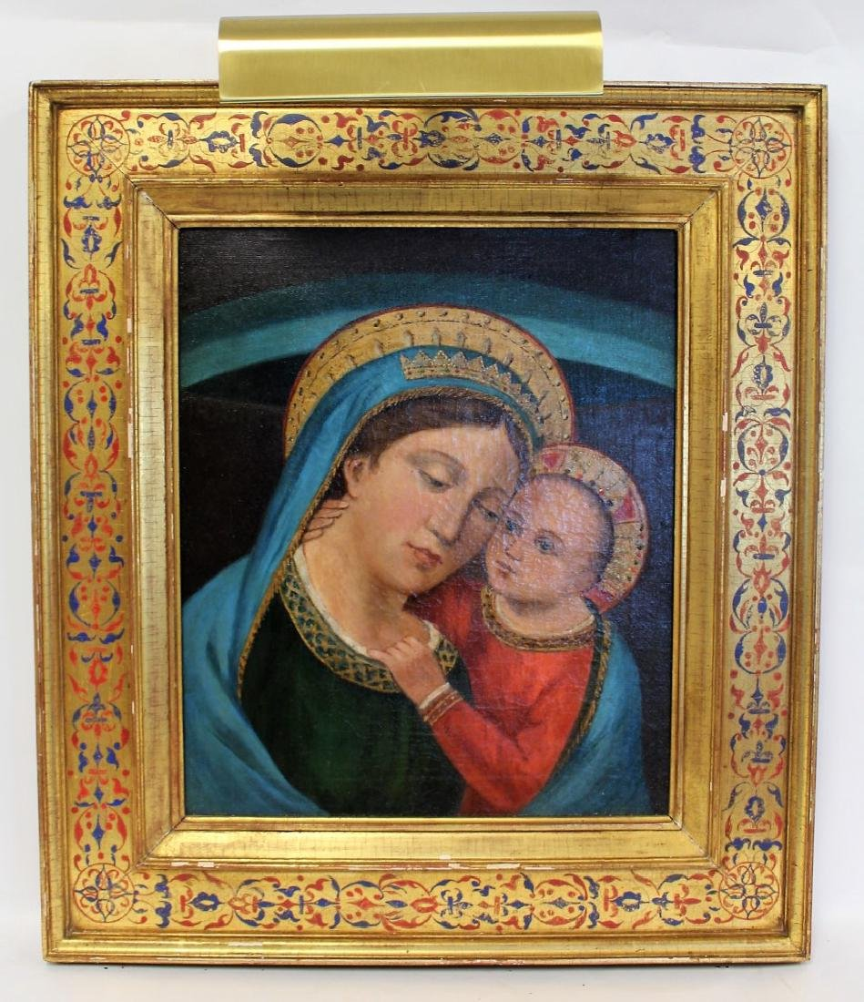 19thC. Oil - Madonna and Child - 3