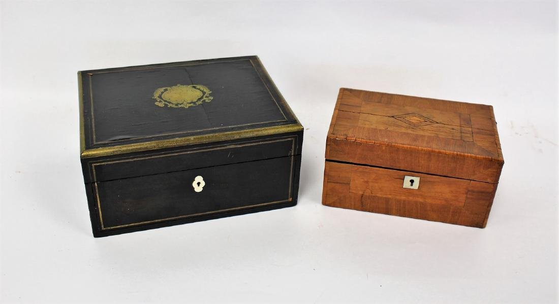 Two(2) English Inlaid Wood Boxes