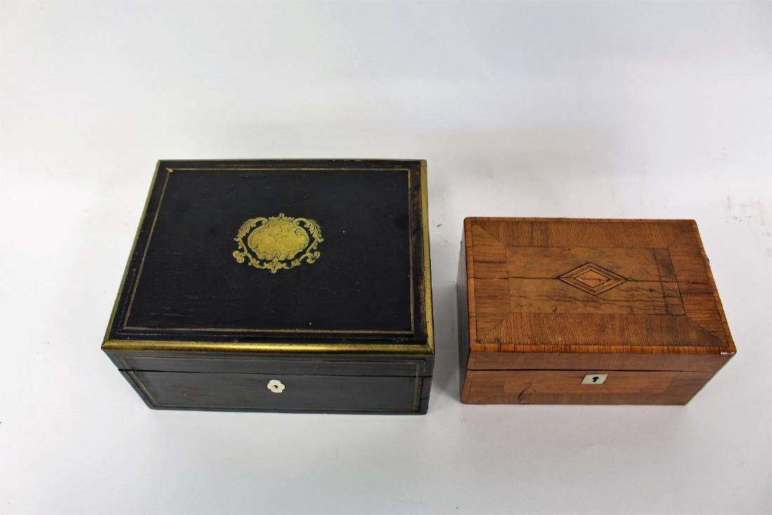 Two(2) English Inlaid Wood Boxes - 2