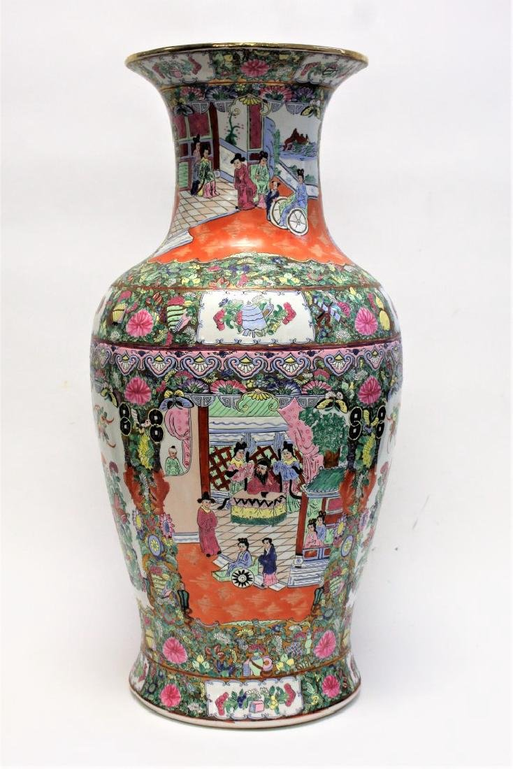 Chinese Famille Rose Porcelain Temple Vase