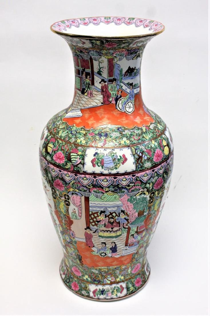 Chinese Famille Rose Porcelain Temple Vase - 2
