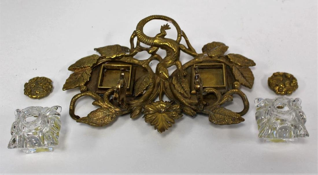 Ornate Brass and Glass Double Ink Stand - 3