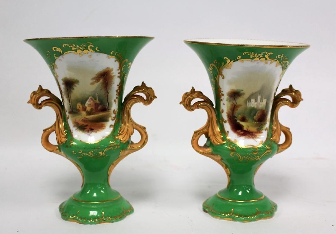 Pair of Old Paris Porcelain Urn Vases