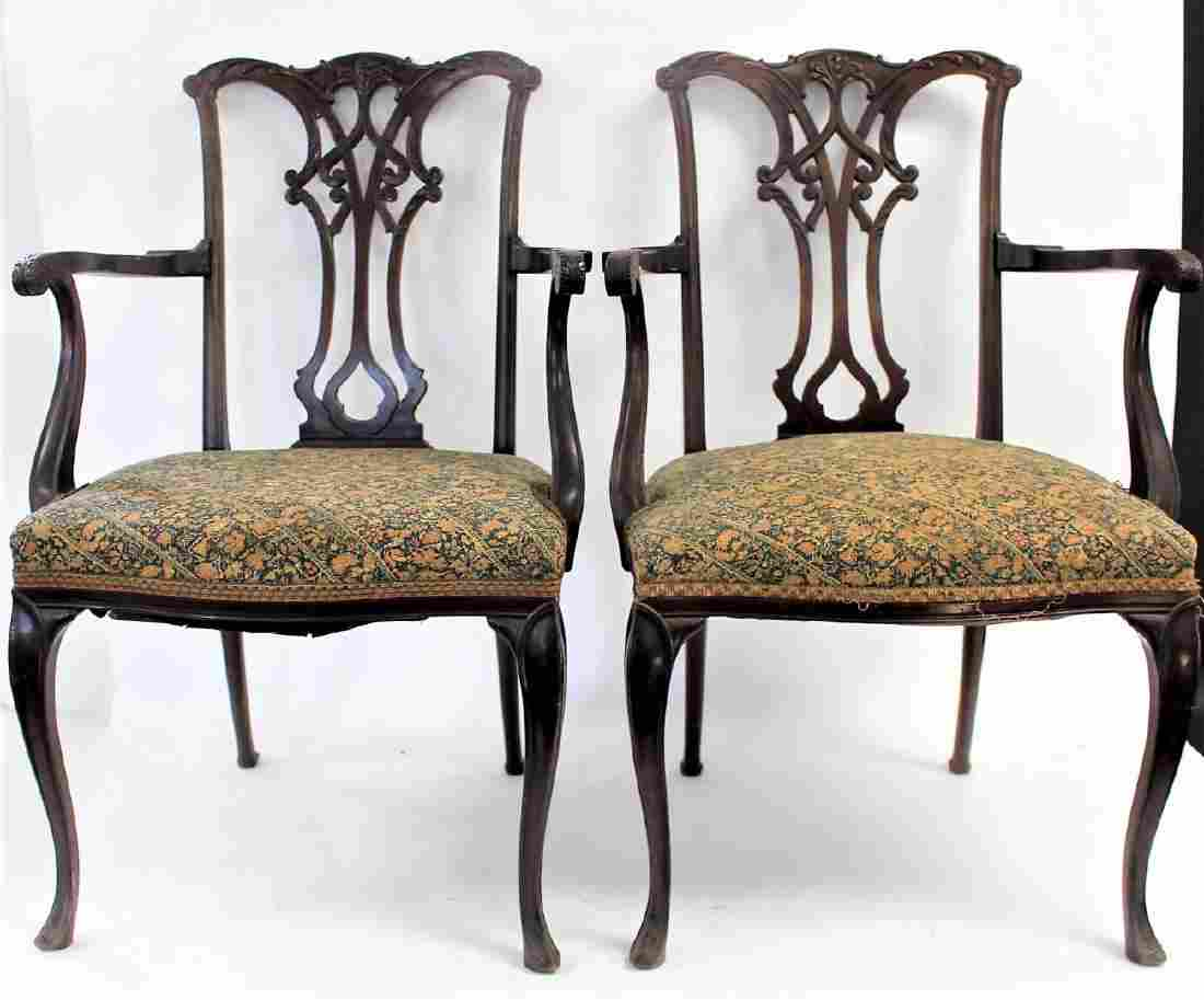 Pair of Chippendale Mahogany Arm Chairs