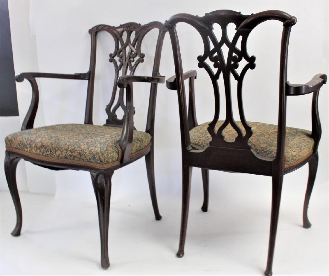Pair of Chippendale Mahogany Arm Chairs - 4
