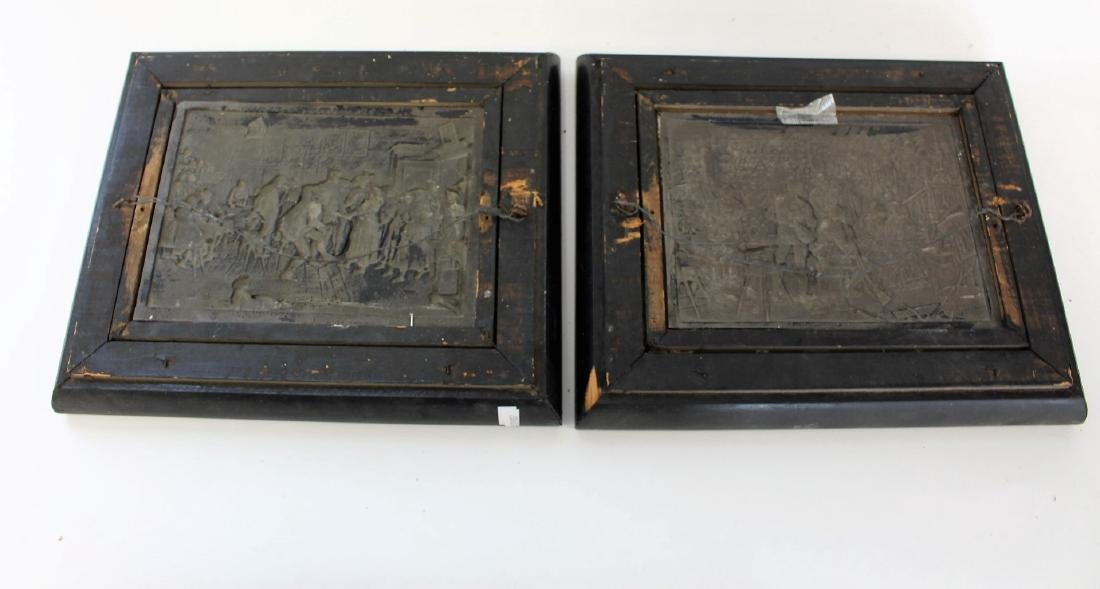 Pair of Continental Silvered Copper Relief Plaques - 6
