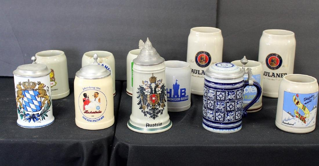 Lot of Miscellaneous Stoneware Steins(12)