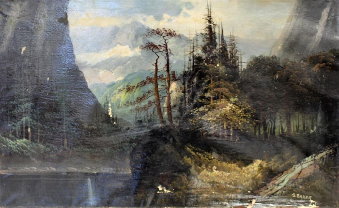 S. Baker; American Oil Landscape Signed