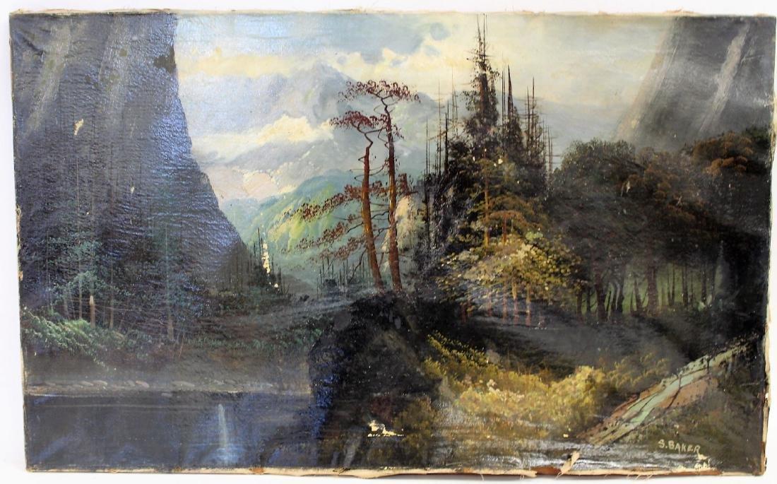 S. Baker; American Oil Landscape Signed - 2