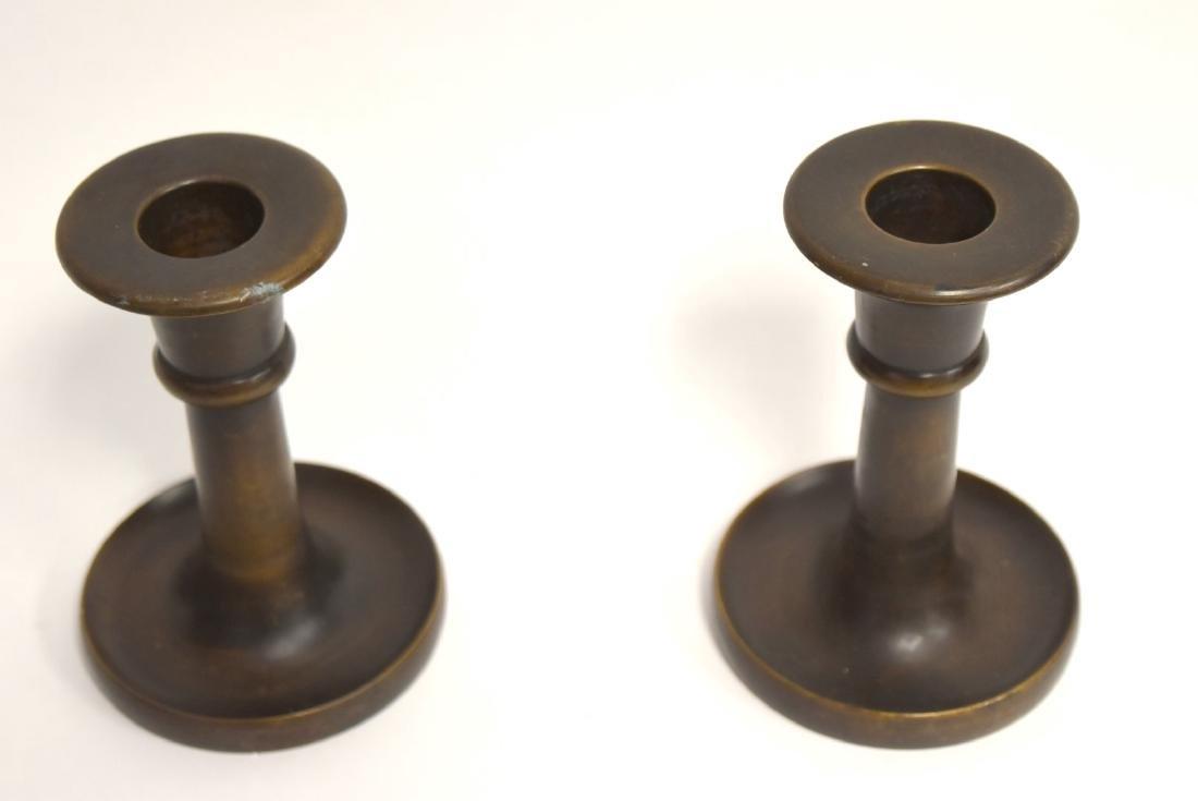 Pair of Arts & Crafts Bronze Candlesticks - 3