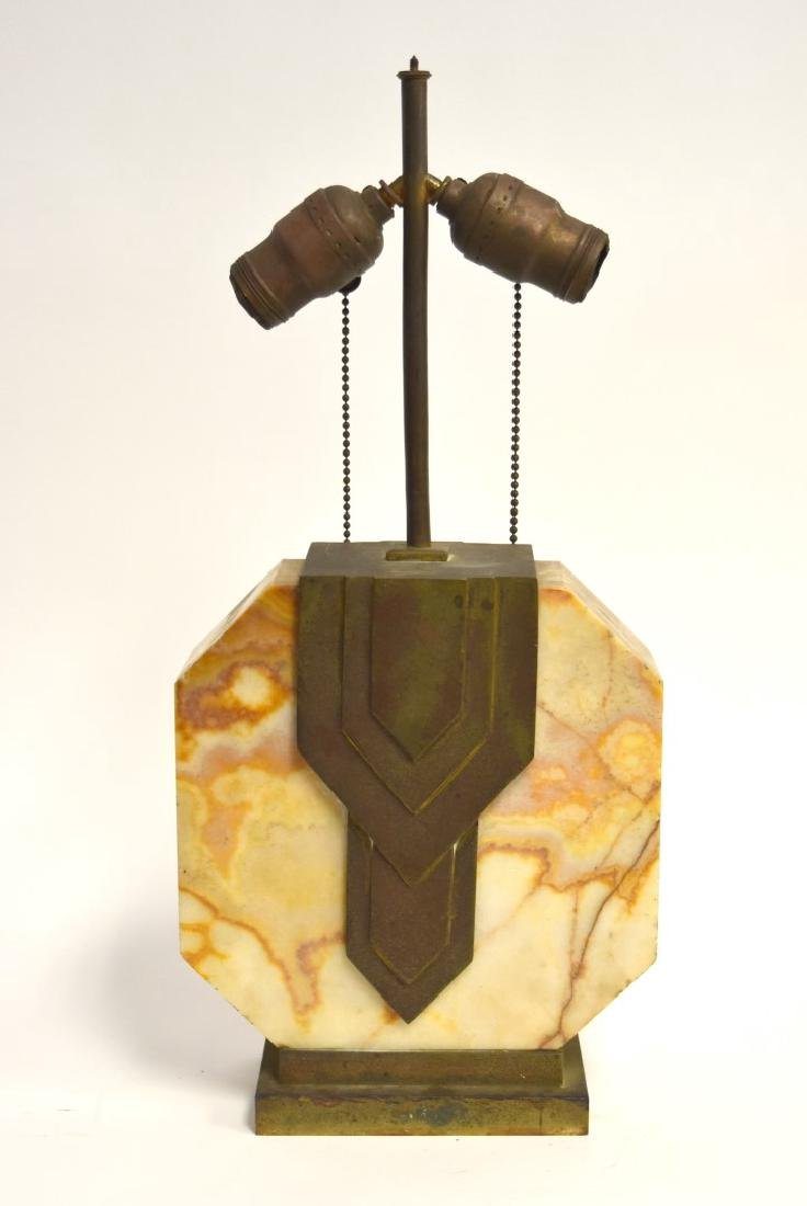 Edgar Brandt(manner of); Art Deco Marble Lamp