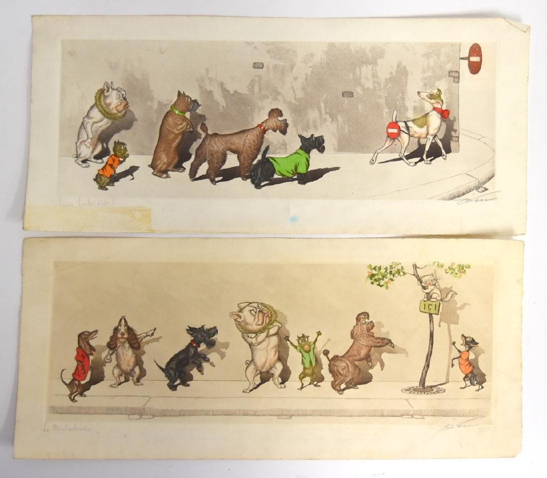 Boris O'Klein; Two(2) Whimsical Etchings Signed