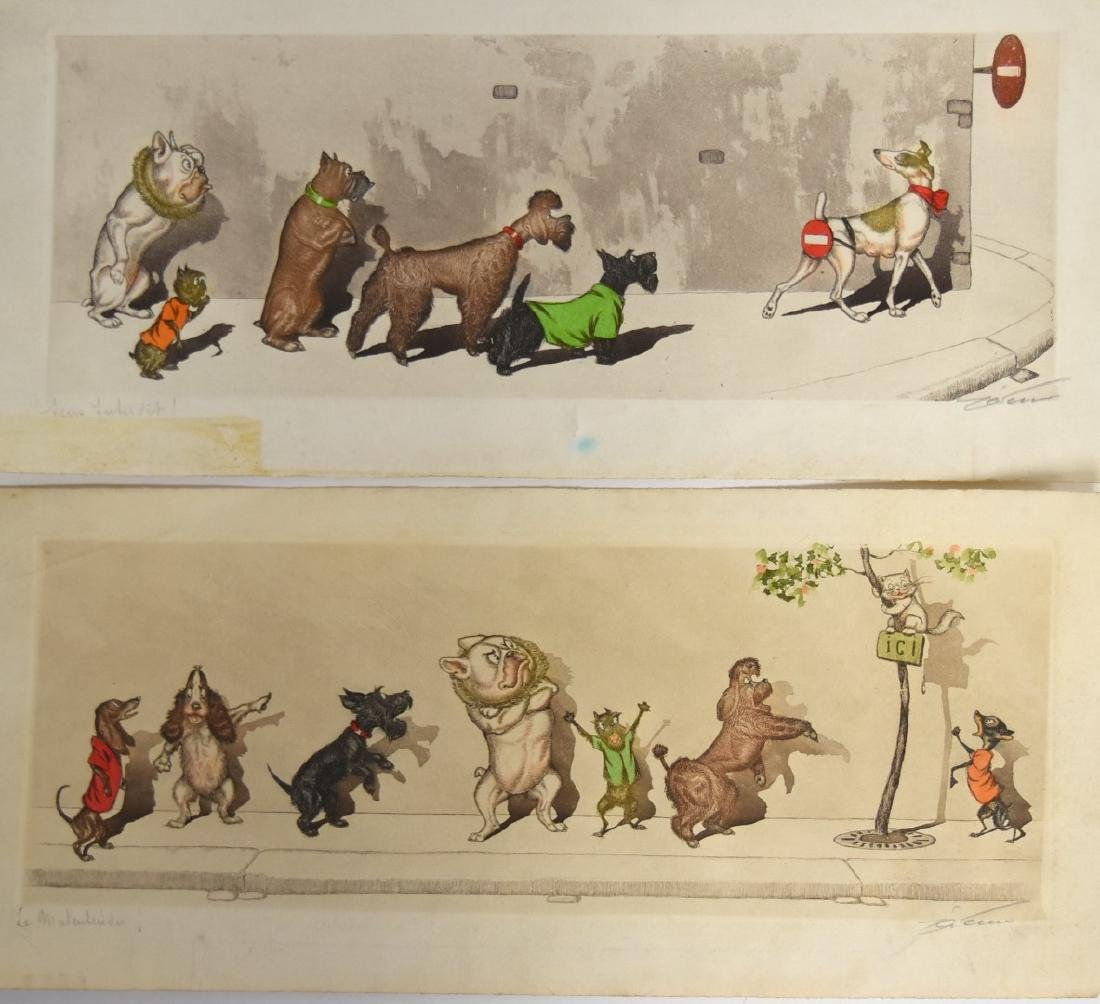 Boris O'Klein; Two(2) Whimsical Etchings Signed - 2