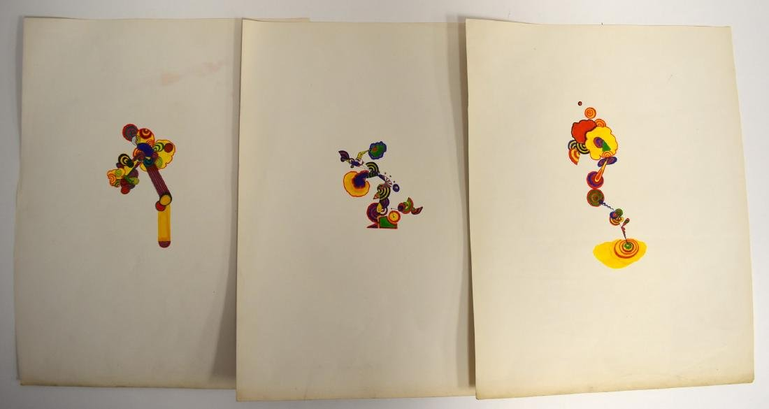Peter Max(attributed to); Three(3) Watercolor Sketches
