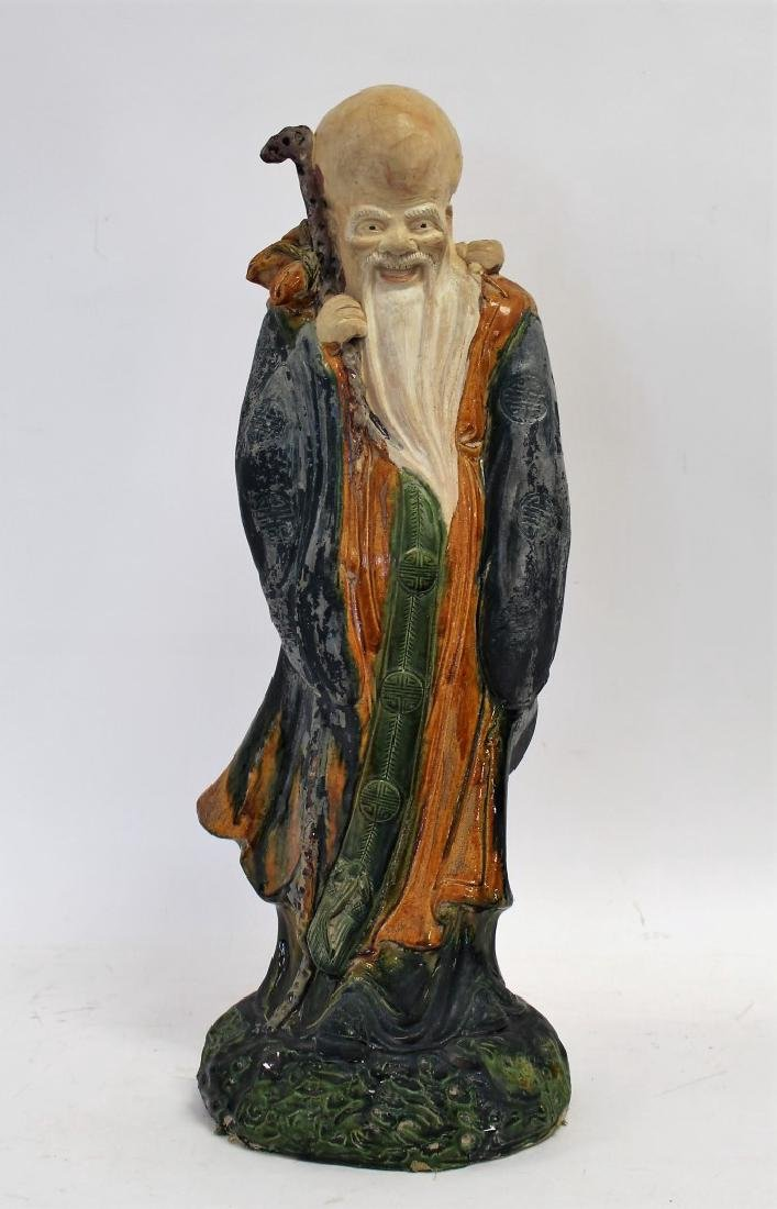 Chinese Glazed Pottery Figure of a Wiseman