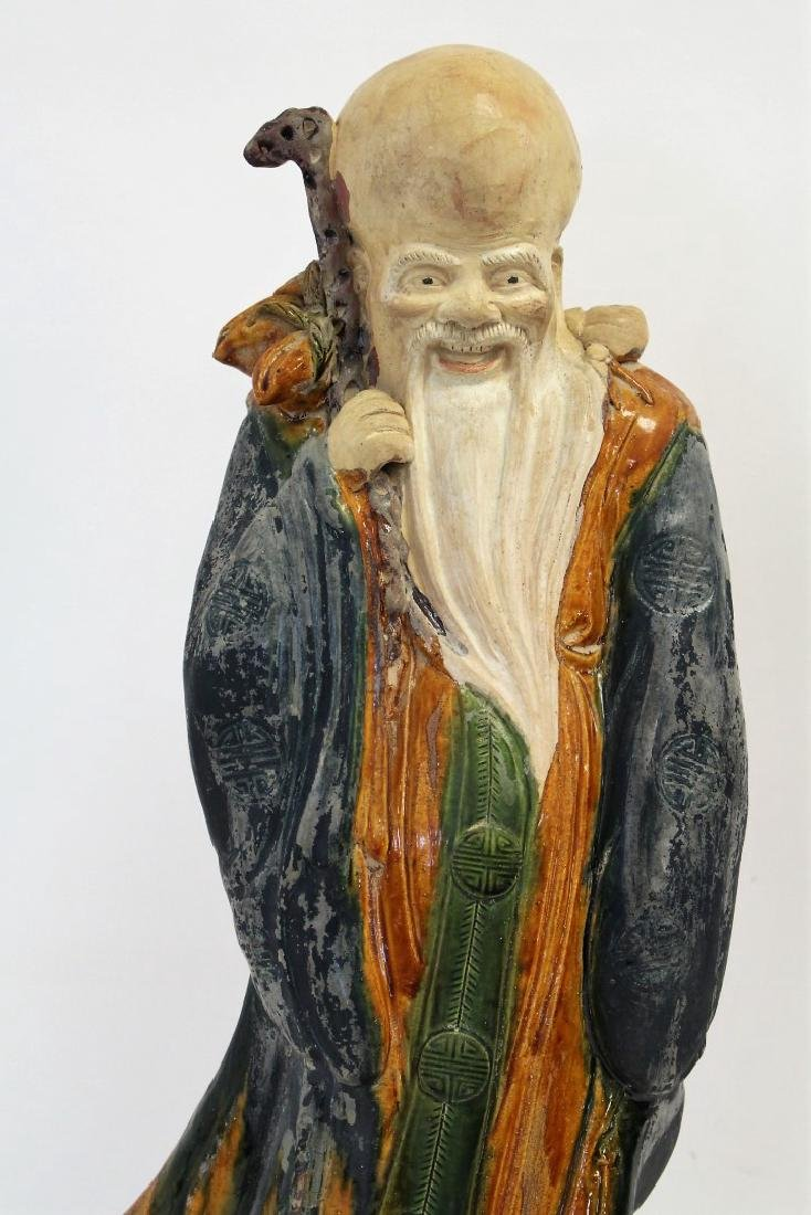 Chinese Glazed Pottery Figure of a Wiseman - 2
