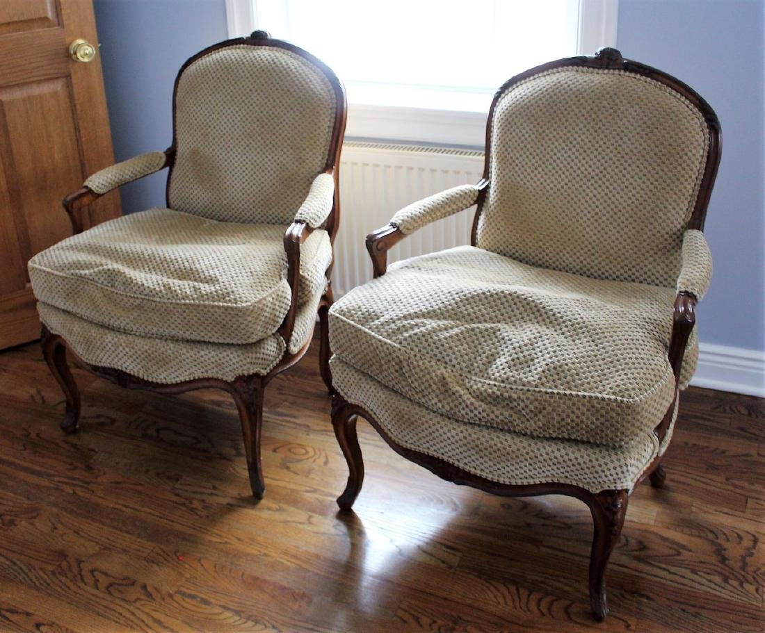Pair of French Bergere Arm Chairs - 2