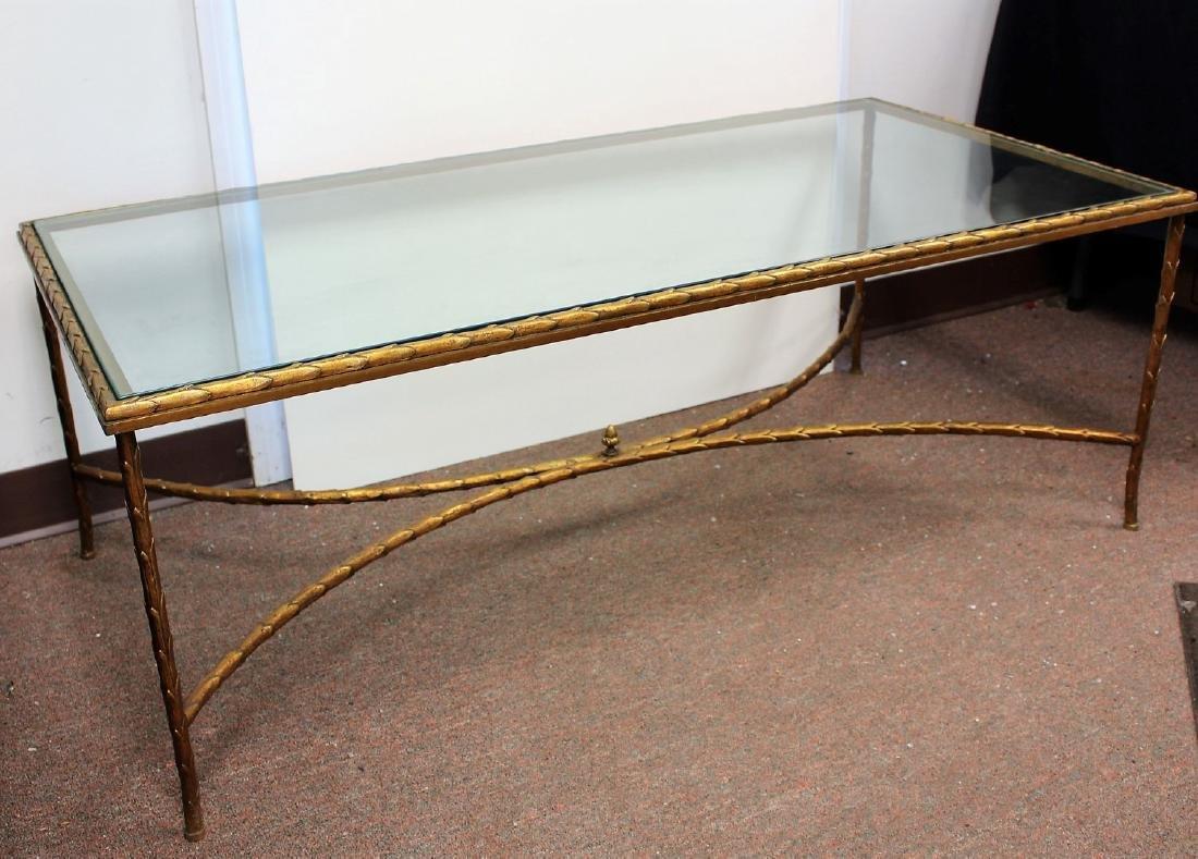 Gilt Metal and Glass Coffee Table