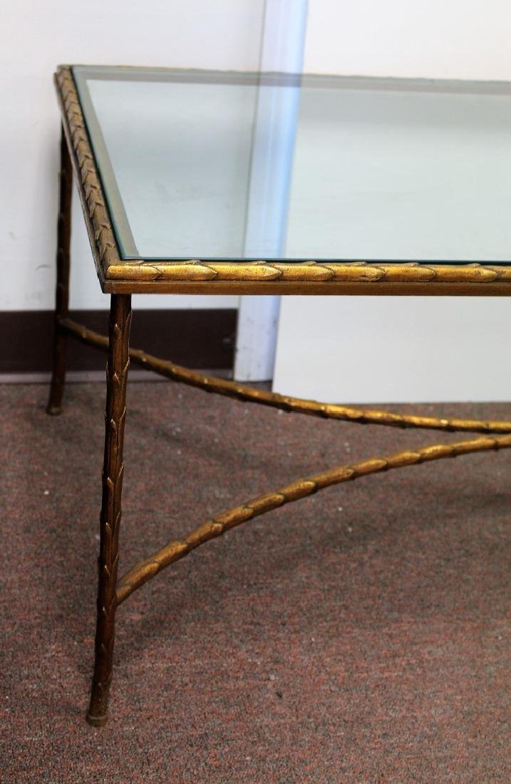 Gilt Metal and Glass Coffee Table - 3