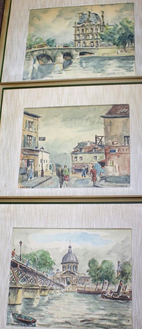 G. Meraut; Three(3) 20thC. French Watercolors Signed
