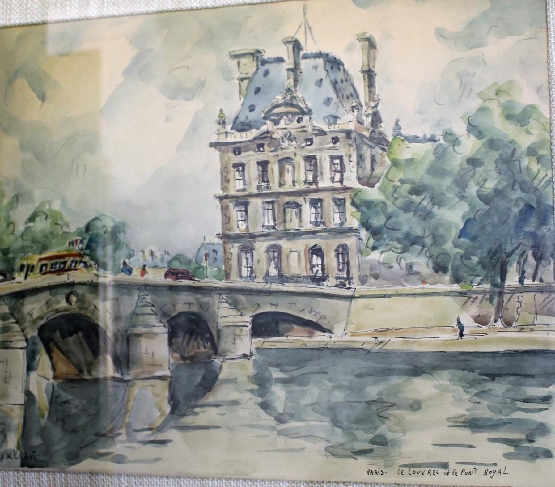 G. Meraut; Three(3) 20thC. French Watercolors Signed - 7