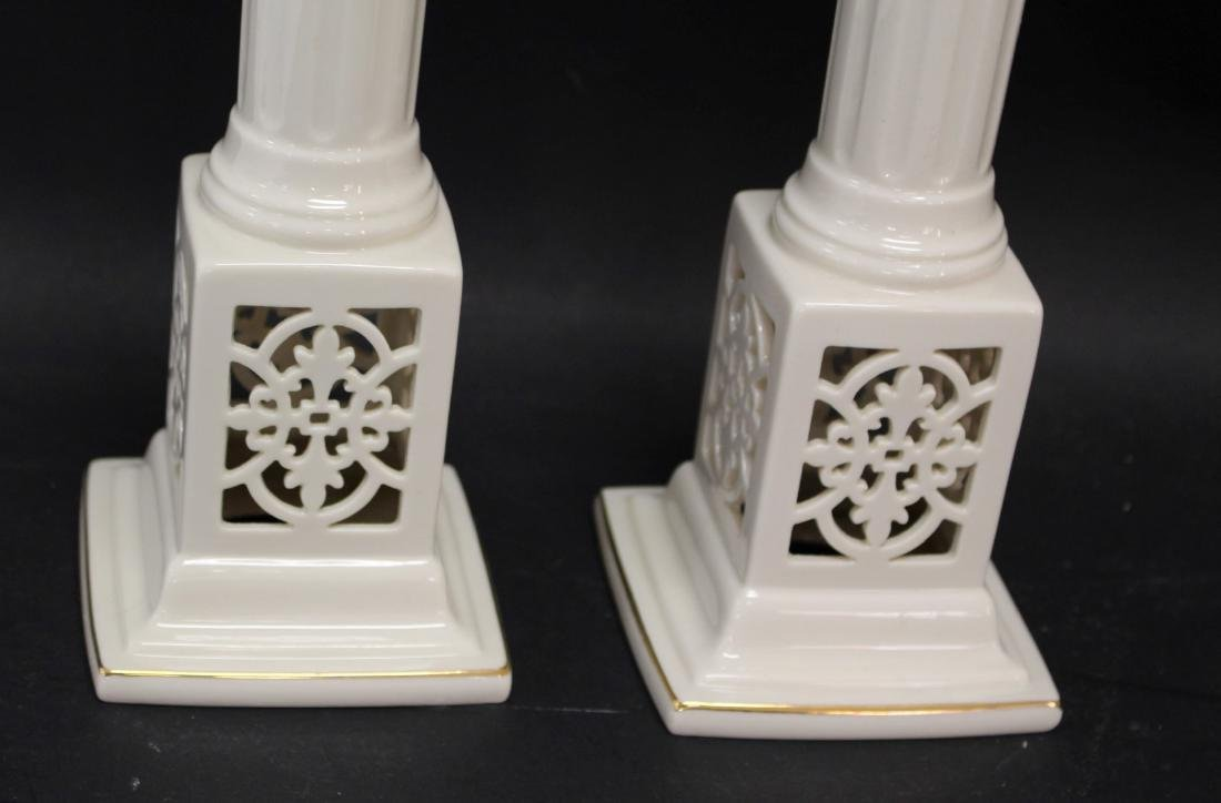 Pair of Lenox Porcelain Candlesticks - 3