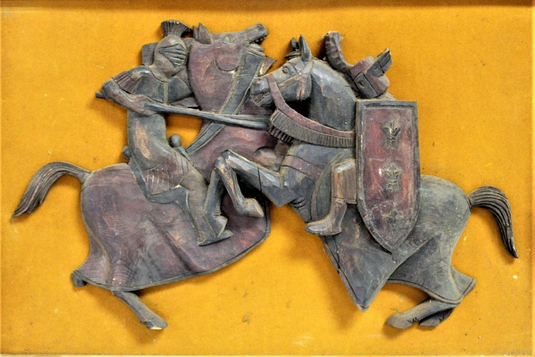 High Relief Carved Wood Plaque
