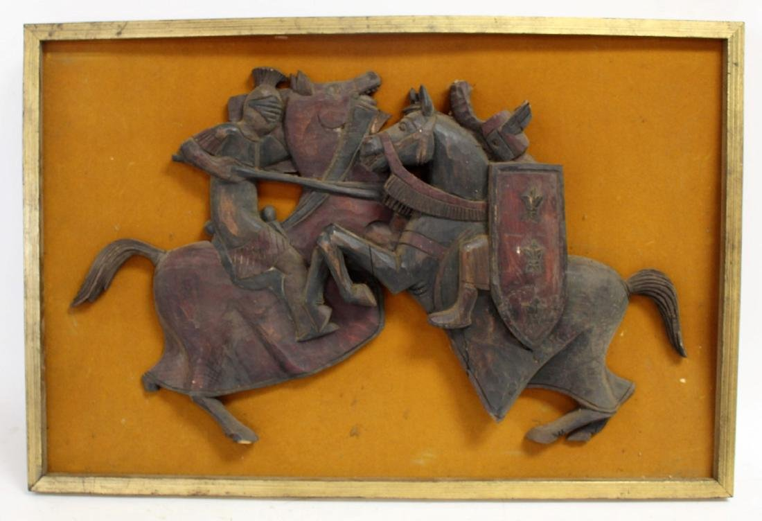 High Relief Carved Wood Plaque - 3