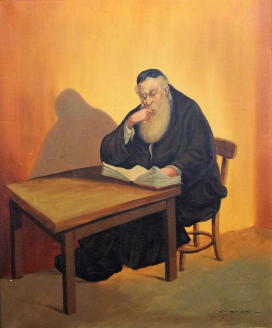 Straski; 20thC. Israeli Oil - A Rabbi Signed