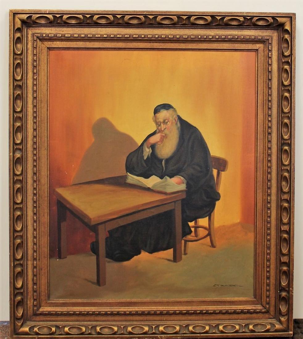 Straski; 20thC. Israeli Oil - A Rabbi Signed - 2