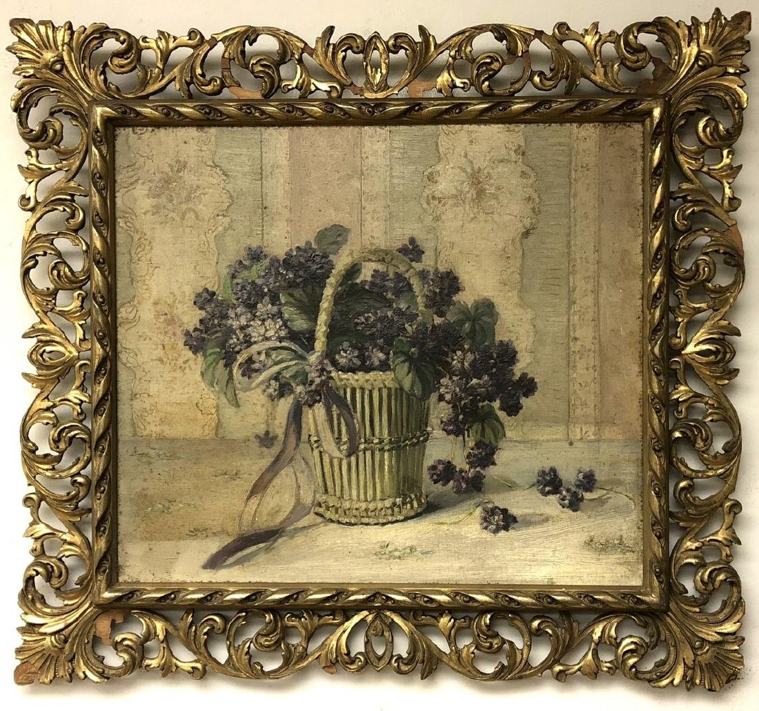 19thC. American School; Oil Still Life Signed