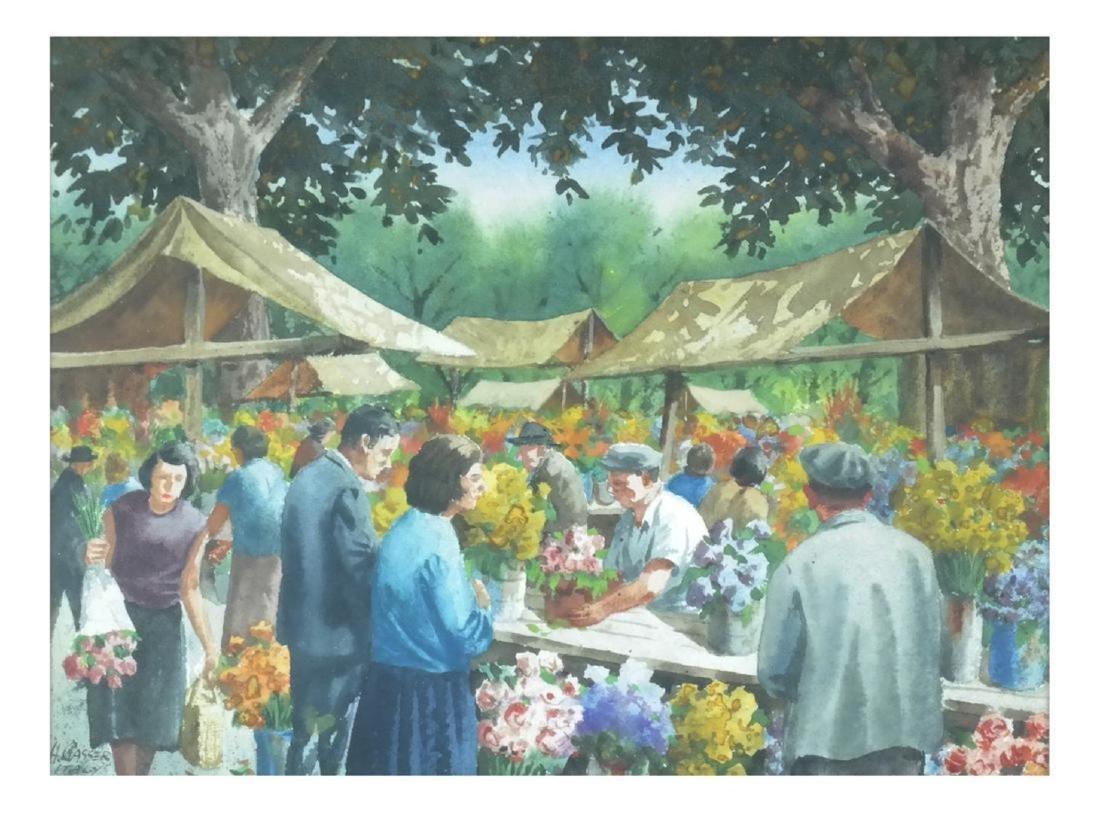 Henry Gasser; 20thC. Watercolor Italian Market Signed