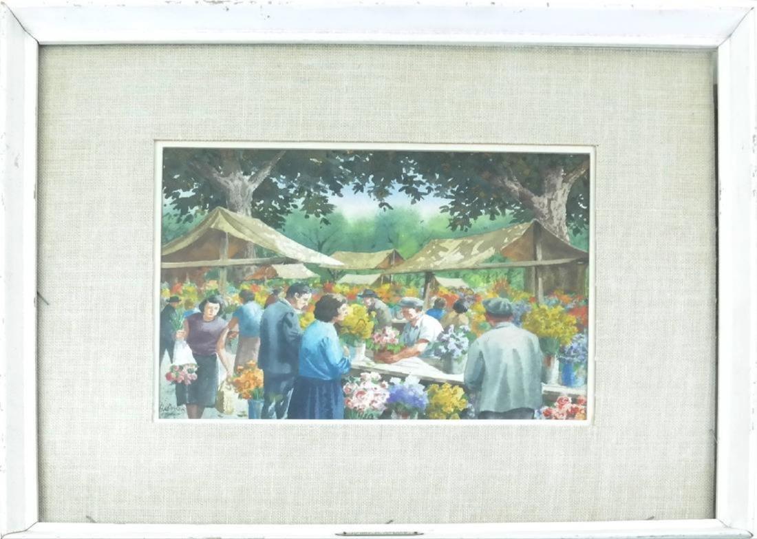 Henry Gasser; 20thC. Watercolor Italian Market Signed - 2